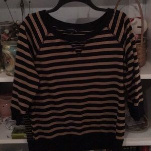 Jones New York Black and Tan Striped Sweatshirt XL